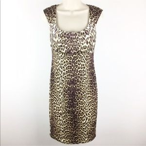 Elie Tahari Animal Print Silk Blend Sheath Dress